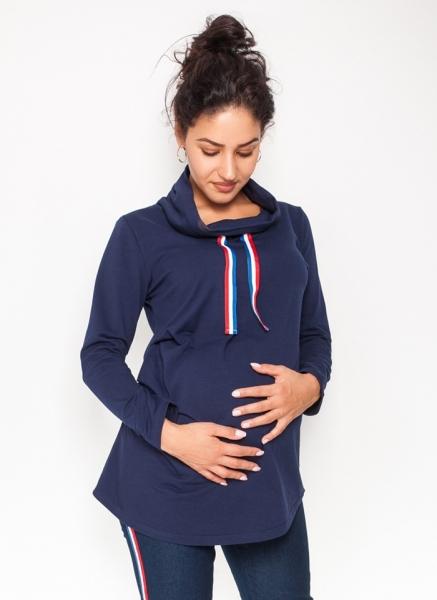 Be MaaMaa Těhotenské triko/mikina se stojáčkem Nova - granátové, vel. M, Velikost: M (38)