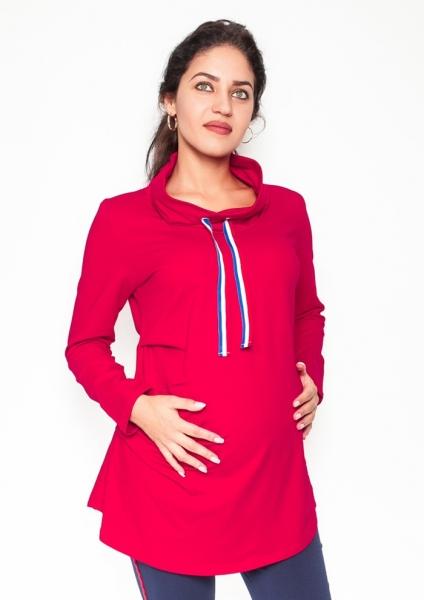 Be MaaMaa Těhotenské triko/mikina se stojáčkem Nova - červené, vel. L