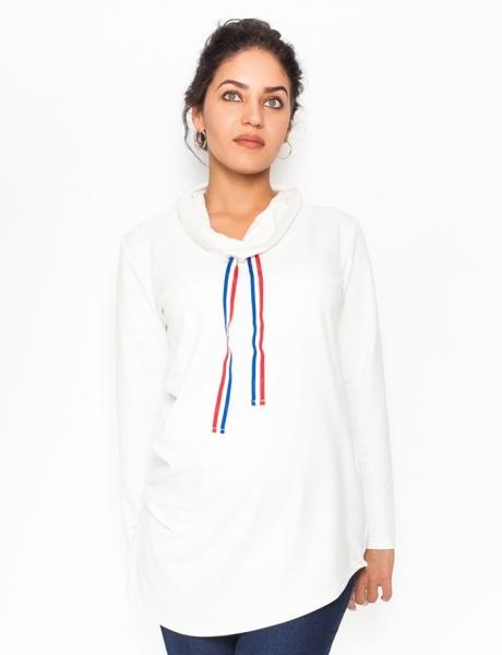 Be MaaMaa Těhotenské triko/mikina se stojáčkem Nova - bílé, vel. XL, Velikost: XL (42)
