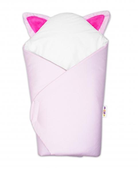 Baby Nellys Novorozenecká zavinovačka s oušky - Kočička růžová
