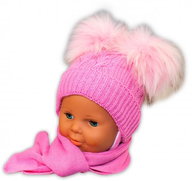 BABY NELLYS Zimní čepička s šálou - chlupáčkové bambulky - růžová