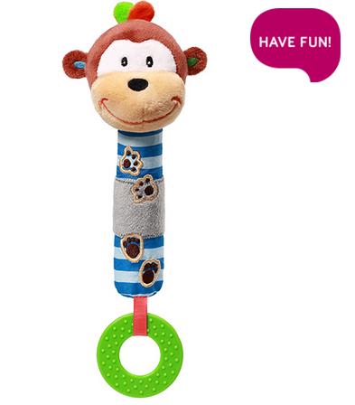 BabyOno Plyšová hračka s pískátkem a kousátkem Opička George