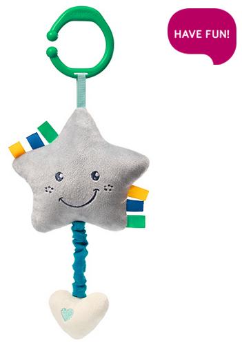 BabyOno Plyšová hvězdička s hracím strojkem Lullaby Star - šedá