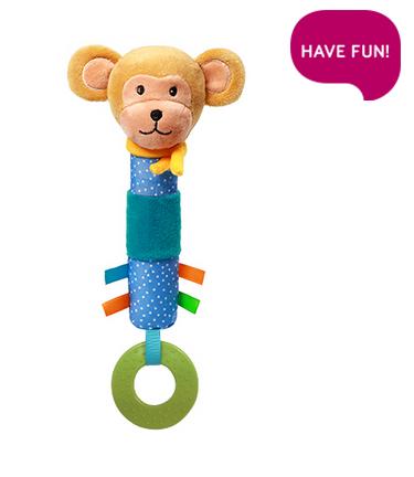 BabyOno Plyšová hračka s pískátkem a kousátkem Opička Eric