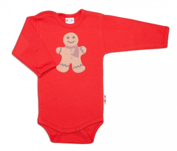 Body dlouhý rukáv Perníček - červené, vel. 74, Velikost: 74 (6-9m)