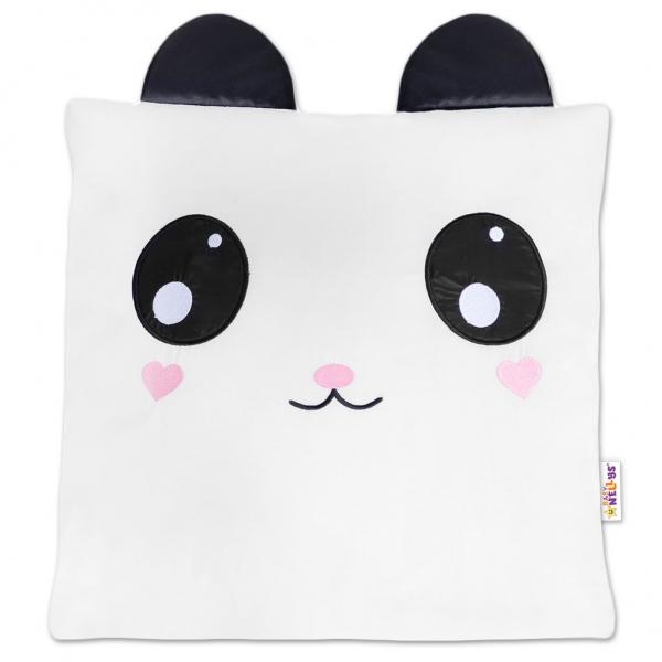 Dekorační polštářek s oušky, 40x40cm - Panda