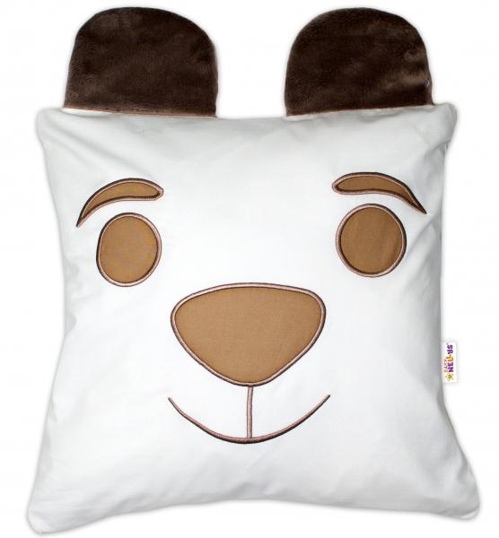 Baby Nellys Dekorační polštářek s oušky, 40x40cm - Medvídek