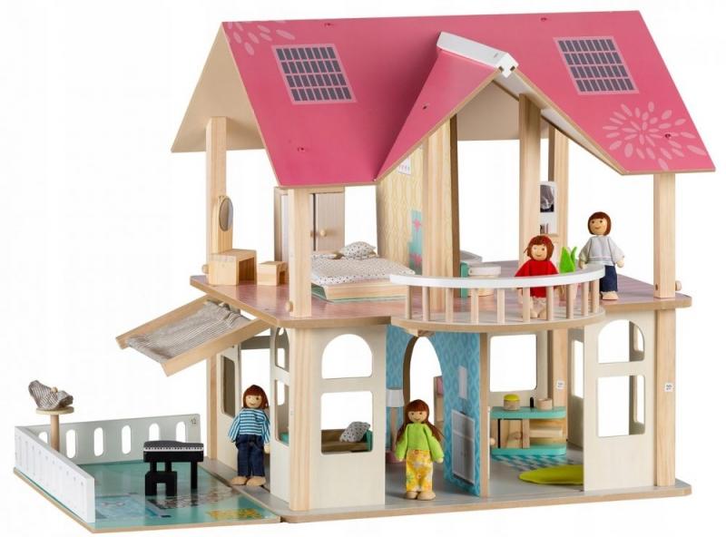 Eco toys Dřevěný domek pro panenky s balkónem - Rezidence Modern