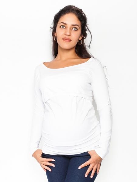 Be MaaMaa Těhotenské, kojící triko/halenka dlouhý rukáv Siena - bílé, vel. XL, Velikost: XL (42)