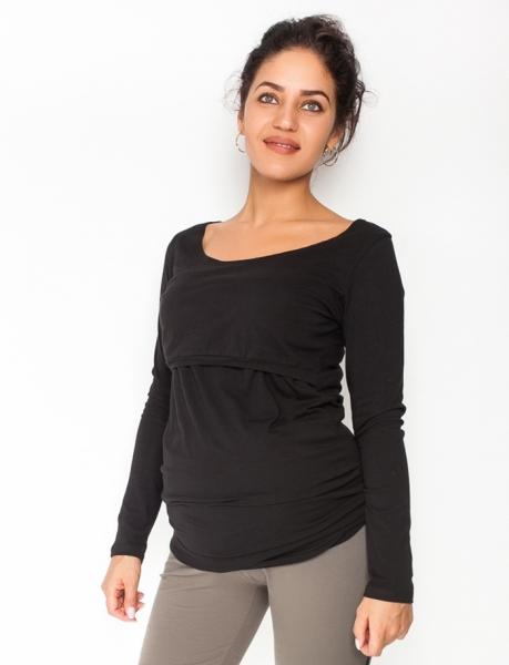 Be MaaMaa Těhotenské, kojící triko/halenka dlouhý rukáv Siena - černé