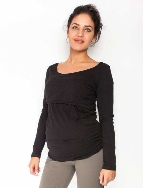 Be MaaMaa Těhotenské, kojící triko/halenka dlouhý rukáv Siena - černé, vel. L, Velikost: L (40)