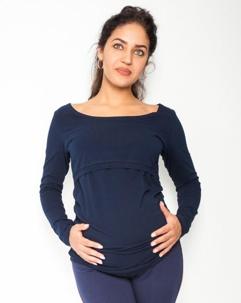 Be MaaMaa Těhotenské, kojící triko/halenka dlouhý rukáv Siena - granátové, vel. XL