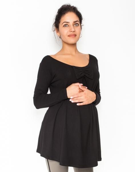 Be MaaMaa Volná těhotenská halenka/tunika dlouhý rukáv Aria - černá
