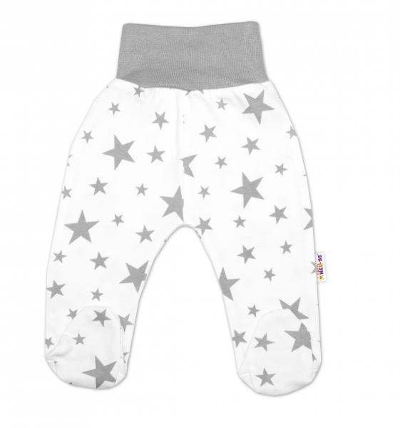 Bavlněné kojenecké polodupačky Baby Nellys ® - bílé, hvězdičky - šedé