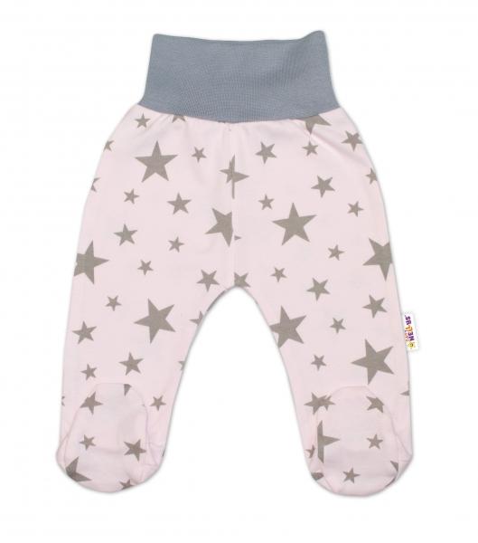 Bavlněné kojenecké polodupačky Baby Nellys ® - růžové, hvězdičky - šedé