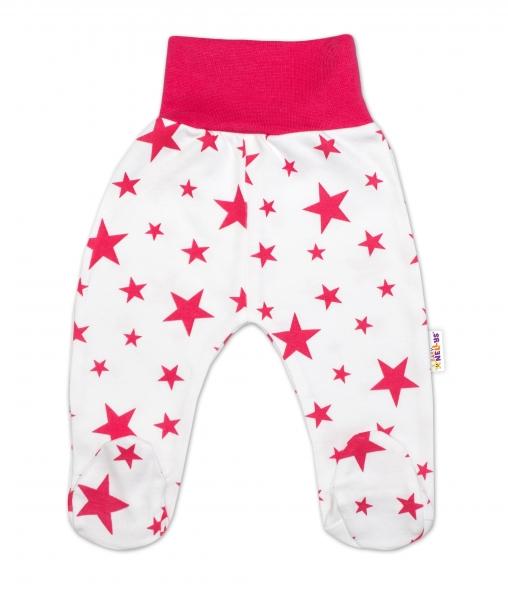 Bavlněné kojenecké polodupačky Baby Nellys ® - bílé, hvězdičky - malinové, vel. 62