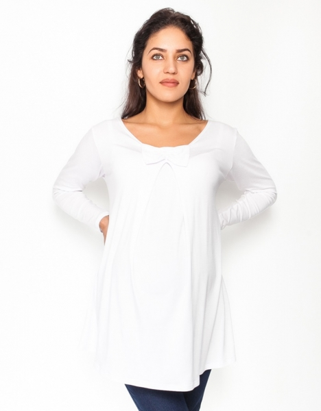 Be MaaMaa Volná těhotenská halenka/tunika dlouhý rukáv Aria - bílá