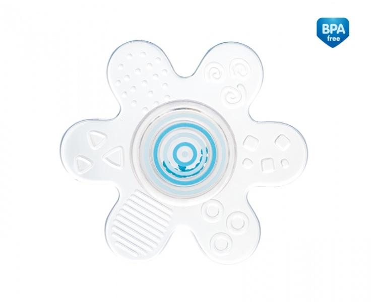 Kousátko silikonové s chrastítkem - Hvězdička -modrá
