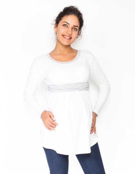 Těhotenská tunika s páskem, dlouhý rukáv Amina - bílá/pásek šedý, vel. M