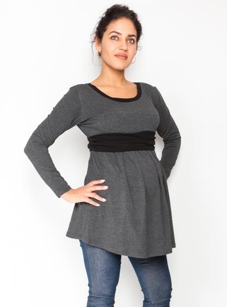 Be MaaMaa Těhotenská tunika s páskem, dlouhý rukáv Amina -  grafit/pásek černý, vel. M