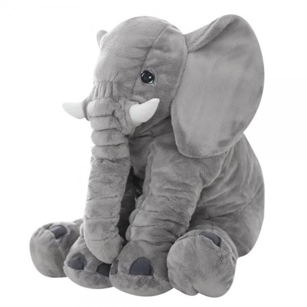 Plyšový sloník - dekorační polštářek 60 cm - šedý
