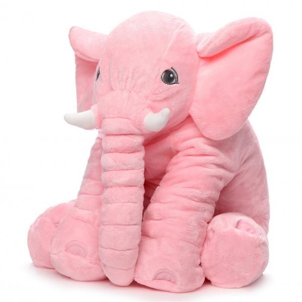 Plyšový sloník - dekorační polštářek 60 cm - růžový