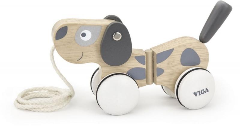 efb305842 Edukační dřevěná hračka tahací - Pejsek šedo-bílý | Obchod s ...