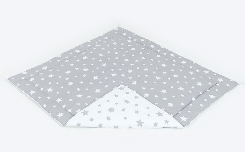 Podložka do stanu pro děti teepee, týpí - velké hvězdy šedé/velké hvězdy bílé