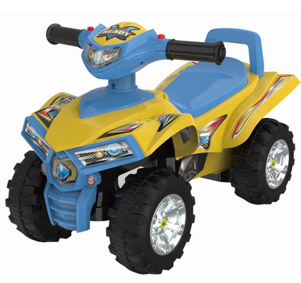 BABY MIX Dětské odrážedlo, čtyřkolka Quad- žlutá/modrá