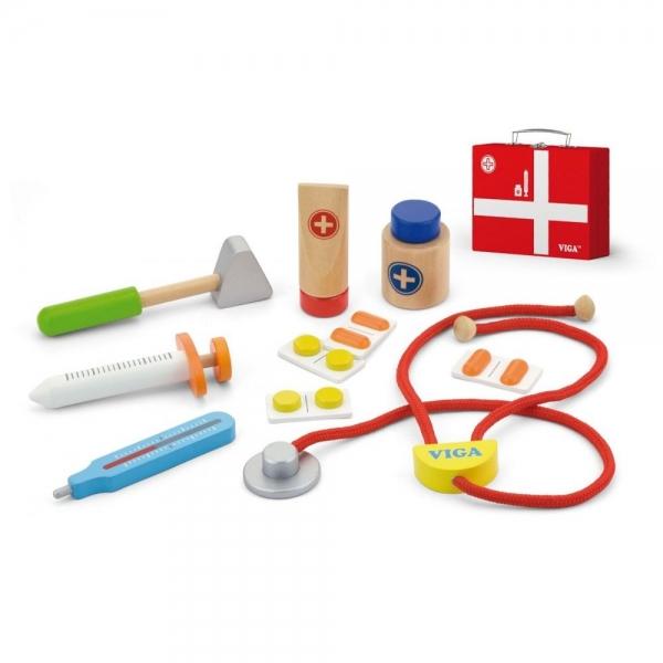 Dřevěný lékařský kufřík  - červený
