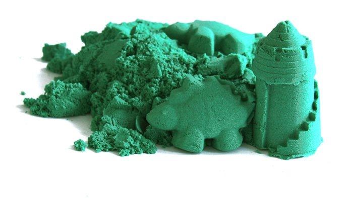 Kinetický písek - zelený - 2kg + formičky zdarma