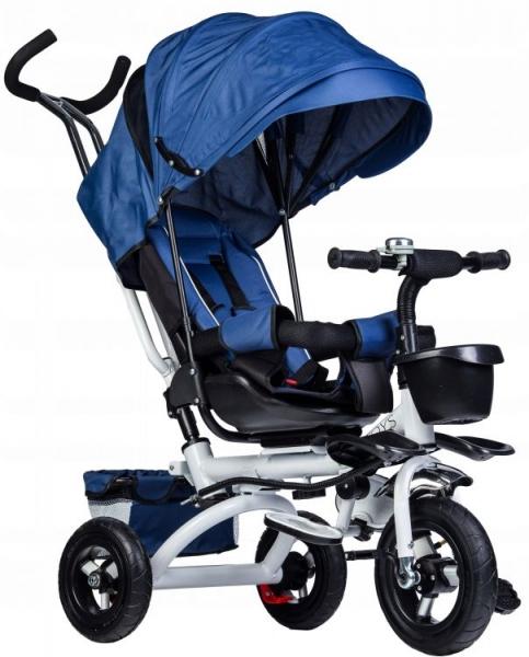 Eco toys Dětská tříkolka Lux s vodící tyči - modrá