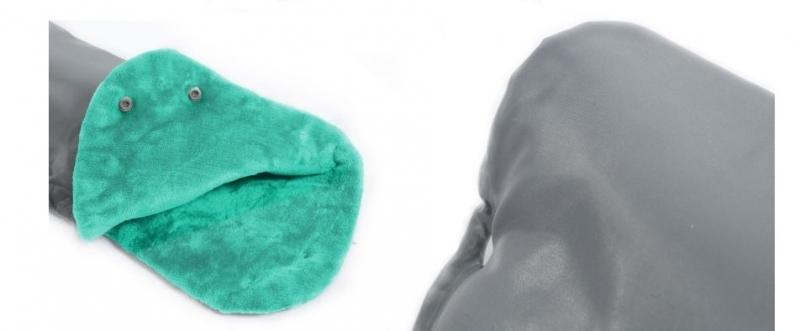 Rukávník ke kočárku fleece - šedý/mátový