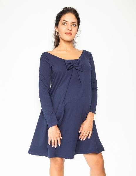 Be MaaMaa Elegantní těhotenské šaty, áčkový střih, dlouhý rukáv - granátové