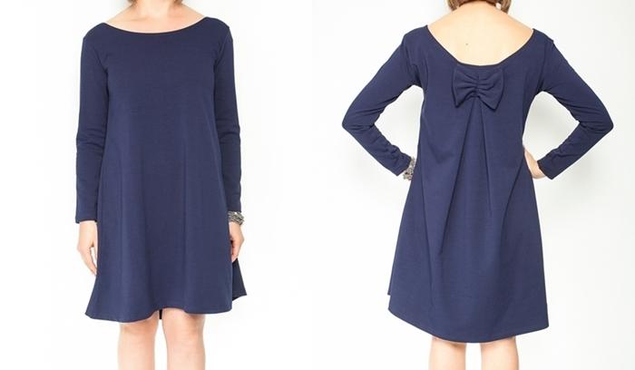 Be MaaMaa Elegantní těhotenské šaty, áčkový střih, dlouhý rukáv - granátové, vel. S