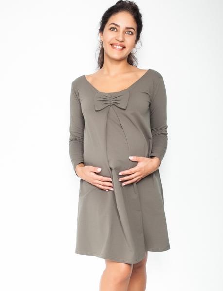 Be MaaMaa Elegantní těhotenské šaty, áčkový střih, dlouhý rukáv - khaki