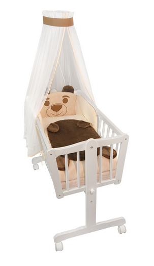 Nellys - Dřevěná kolébka s plnou výbavou Animal -Medvídek béžový