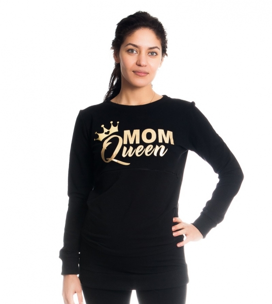 Těhotenské a kojící triko/mikina Mom Queen, dlouhý rukáv, černá