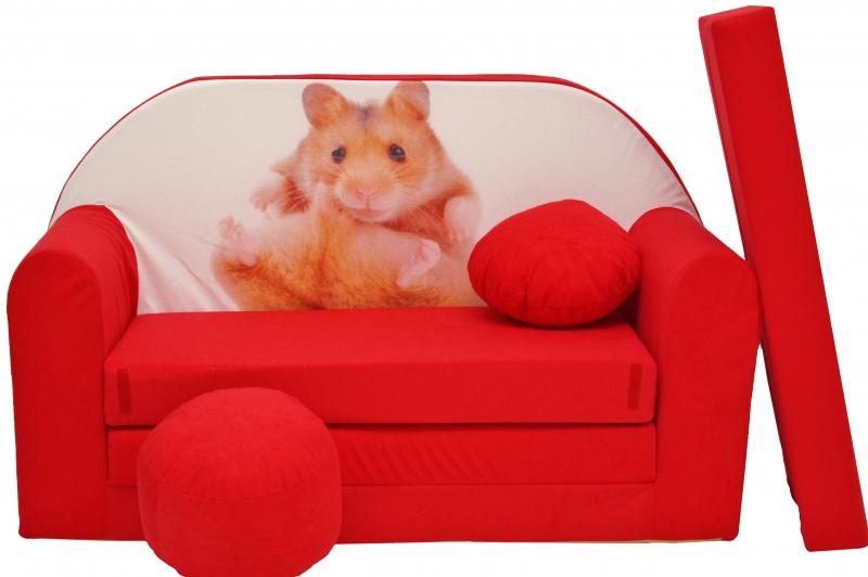 NELLYS Rozkládací dětská pohovka červená - křeček