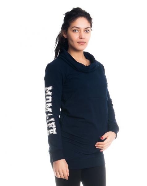 Těhotenské a kojící triko/mikina Mom Life, dl. rukáv, granátové, Velikost: XS (32-34)