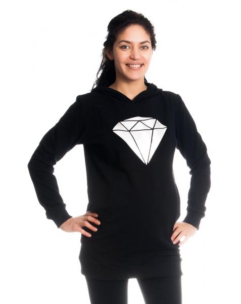 Těhotenské a kojící triko/mikina Diamant, dl. rukáv, černé