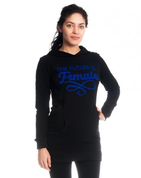 Těhotenské a kojící triko/mikina Future is Female, dl. rukáv, černé, vel. XL