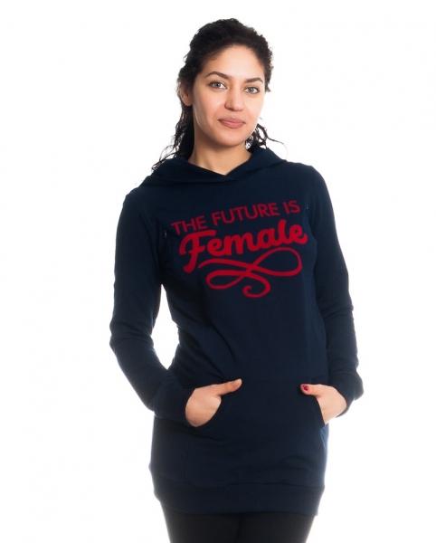 Těhotenské a kojící triko/mikina Future is Female, dl. rukáv, granátové, vel. S