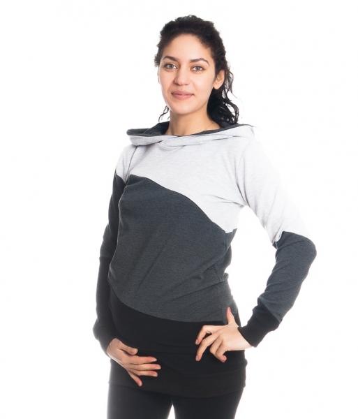 Těhotenské a kojící triko/mikina Tiffany s kapucí, dl. rukáv, široké pruhy, vel. L