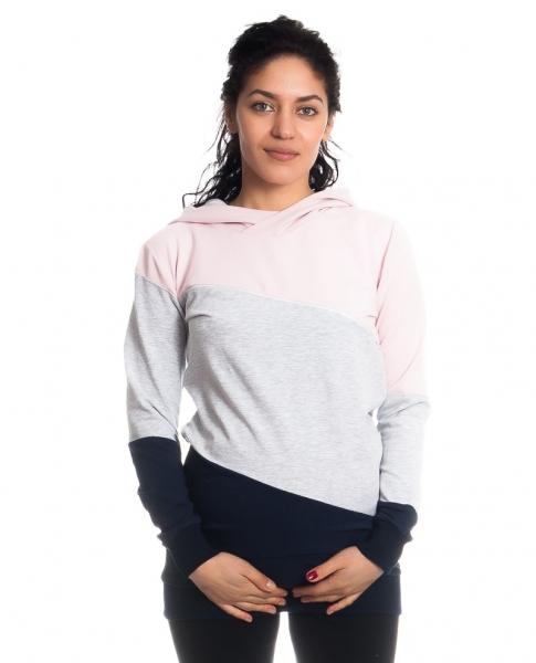 Těhotenské a kojící triko/mikina Tiffany s kapucí, dl. rukáv, široké pruhy, vel. M