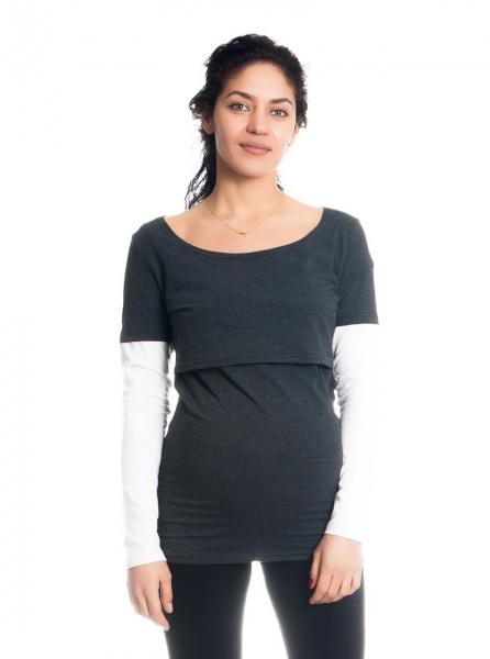 Těhotenské, kojící triko/halenka dlouhý rukáv Ria - grafit/bílé, vel. L
