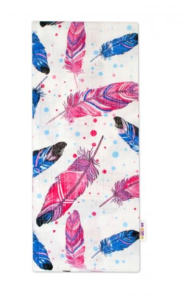 Kvalitní bavlněná plenka - Tetra Lux, 70x80cm, barevná pírka - modrá/růžová