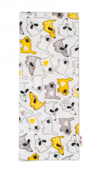 Kvalitní bavlněná plenka - Tetra Lux, 70x80cm, pejsek a kočička - šedá/žlutá