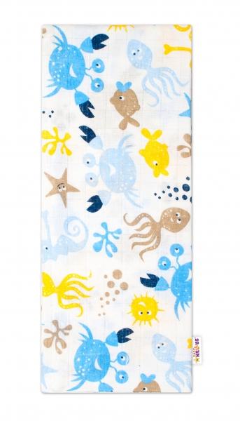 Kvalitní bavlněná plenka - Tetra Lux, 70x80cm, mořská zvířátka - modrá/žlutá