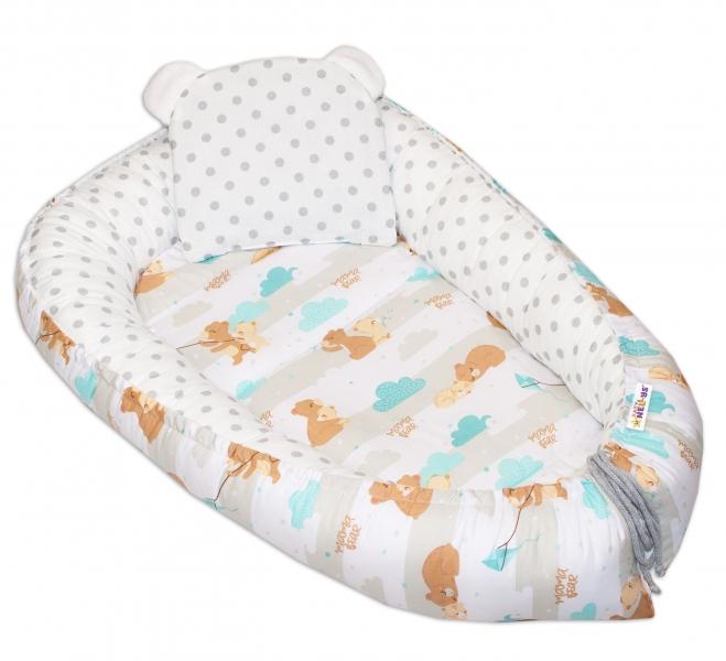 Baby Nellys Oboustranné hnízdečko, kokon  60x90cm - Medvídek velké puntíky - hnědá/bílá